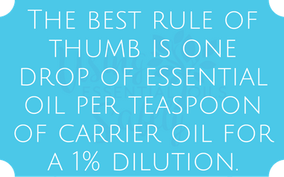 The best rule of thumb is one drop of essential oil per teaspoon of carrier oil for a 1% dilution.