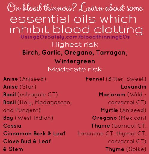 Essential oils which inhibit blood clotting