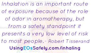 Inhalation is an important route of exposure because of the role of odor in aromatherapy, but from a safety standpoint it presents a very low level of risk to most people.