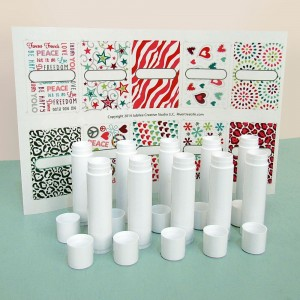 "Lip balm tubes with ""girly"" stickers"
