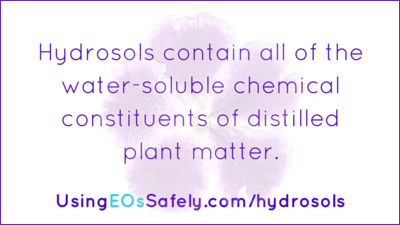 Hydrosols contain all of the water-soluble chemical constituents of distilled plant matter.