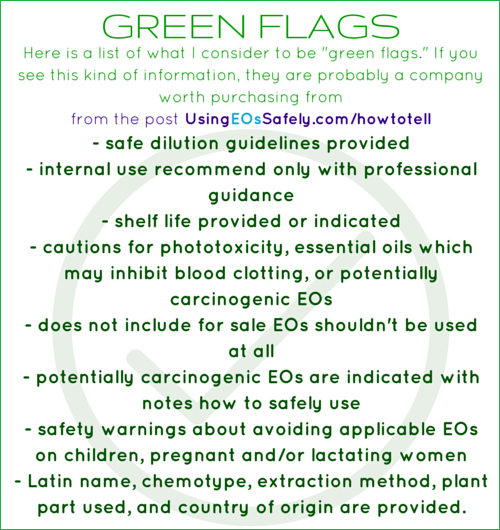 "Here is a list of what I consider to be ""green flags."" If you see this kind of information, they are probably a company worth purchasing from"